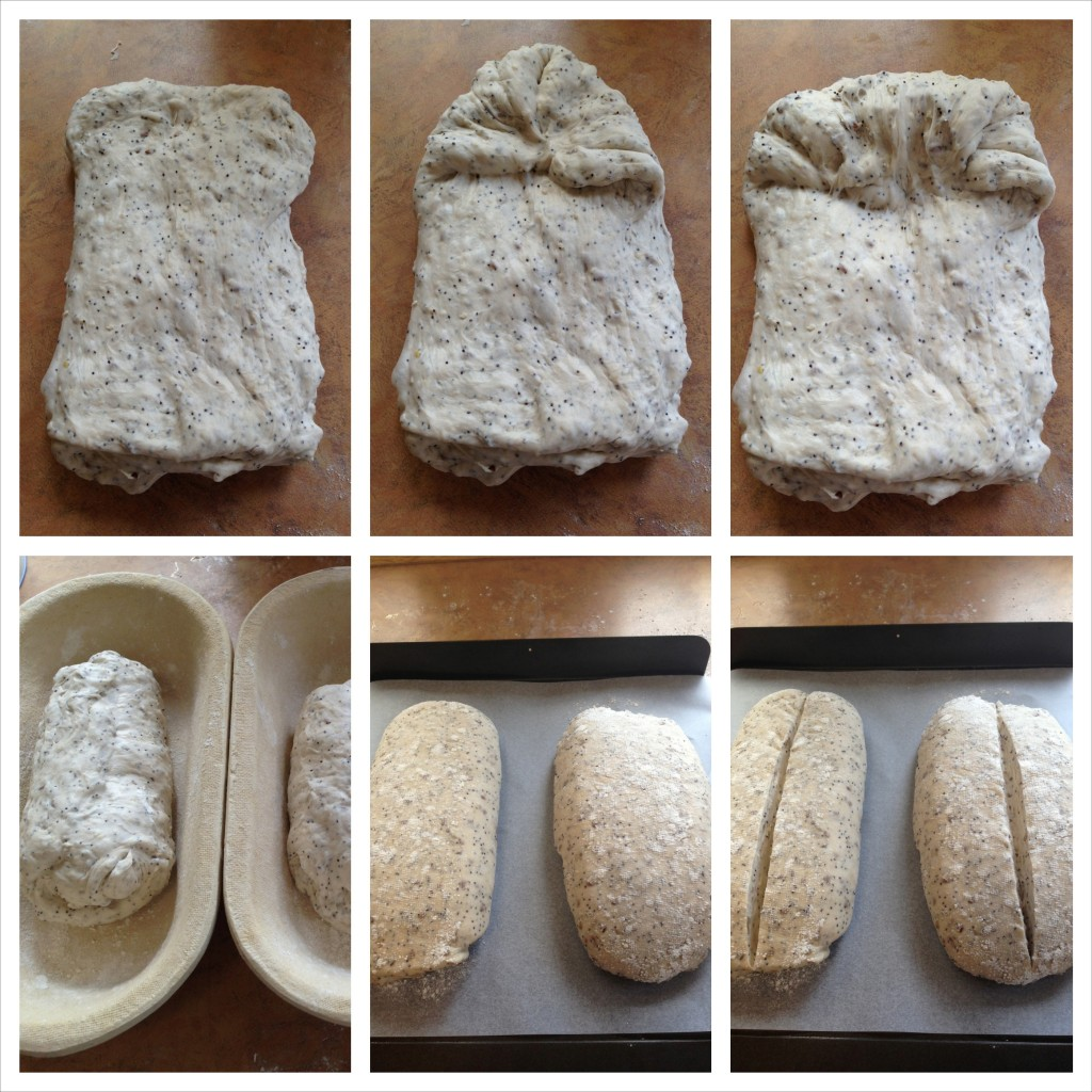 Folding the dough to form loaves. I used kaipseeds in this mix which explains the grains!